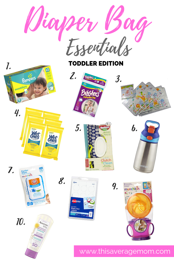 What do you need to have in a diaper bag? As our babies grow into toddlers, the things we need change…but the bag remains. Today on the blog, I'm rounding up ten diaper bag essentials—from the right wipe case to sunscreen to my new favorite trick for toddler and preschooler potty time on the run, I've got you covered! #diaperbag #motherhood #whatsinyourbag