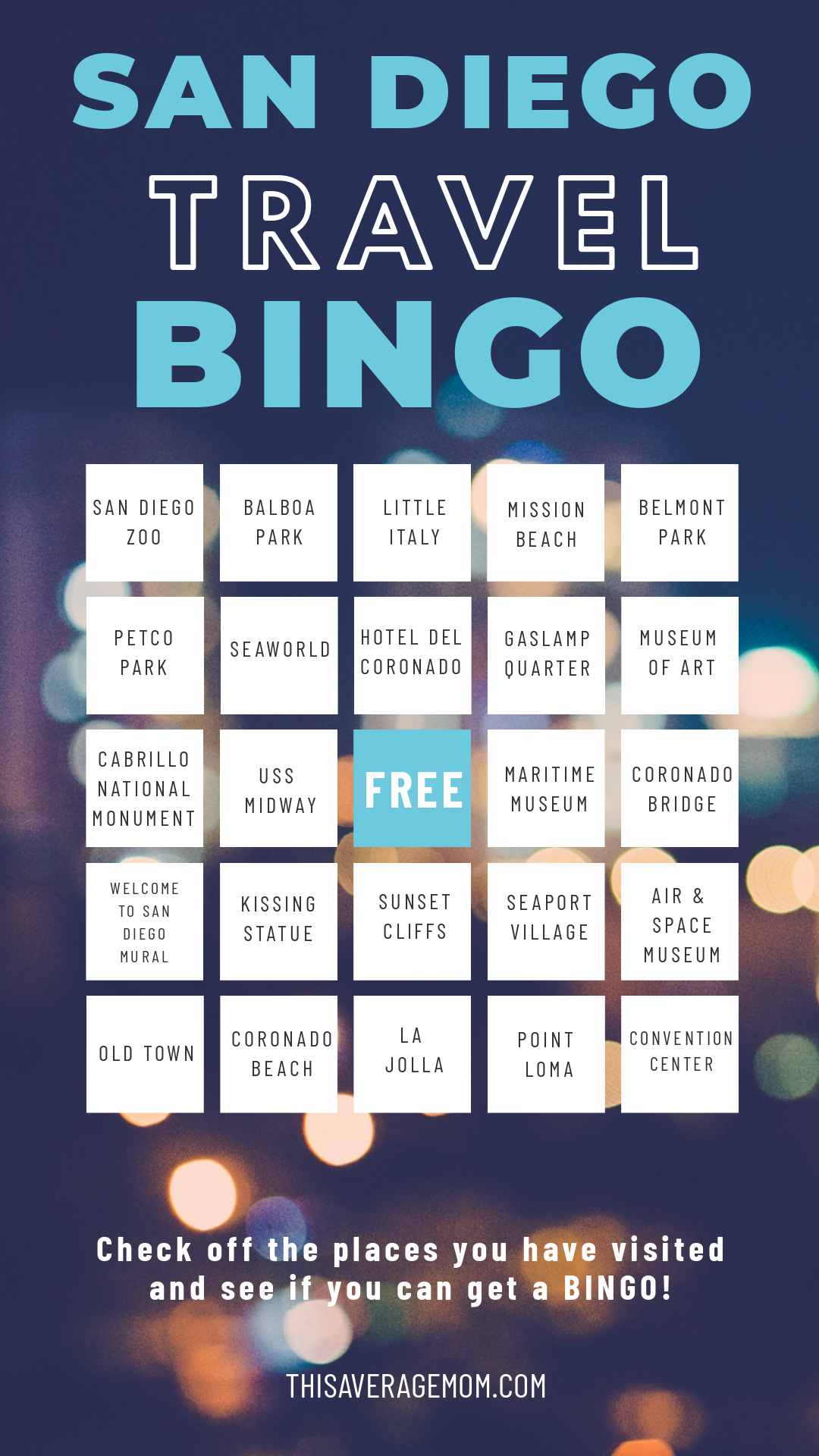 Heading to San Diego? Why not play a little travel Bingo?! Here's some fun things to do while you're in sunny San Diego, CA!  #travel #sandiego