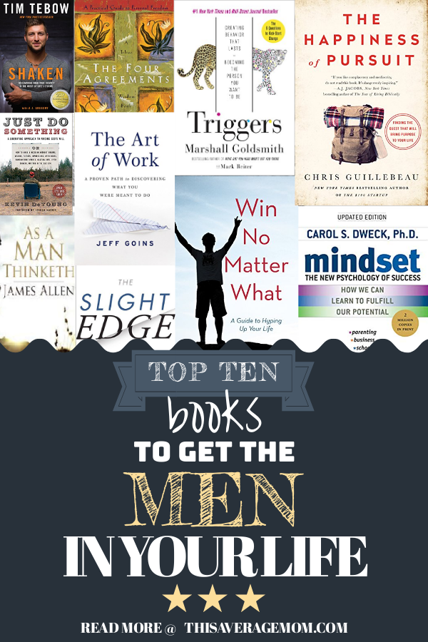 Need some book recommendations for the men in your life? Here's 10 great books for dads, husbands, or anyone else you need to grab a Father's Day gift for! #fathersday #giftideas #personalgrowth