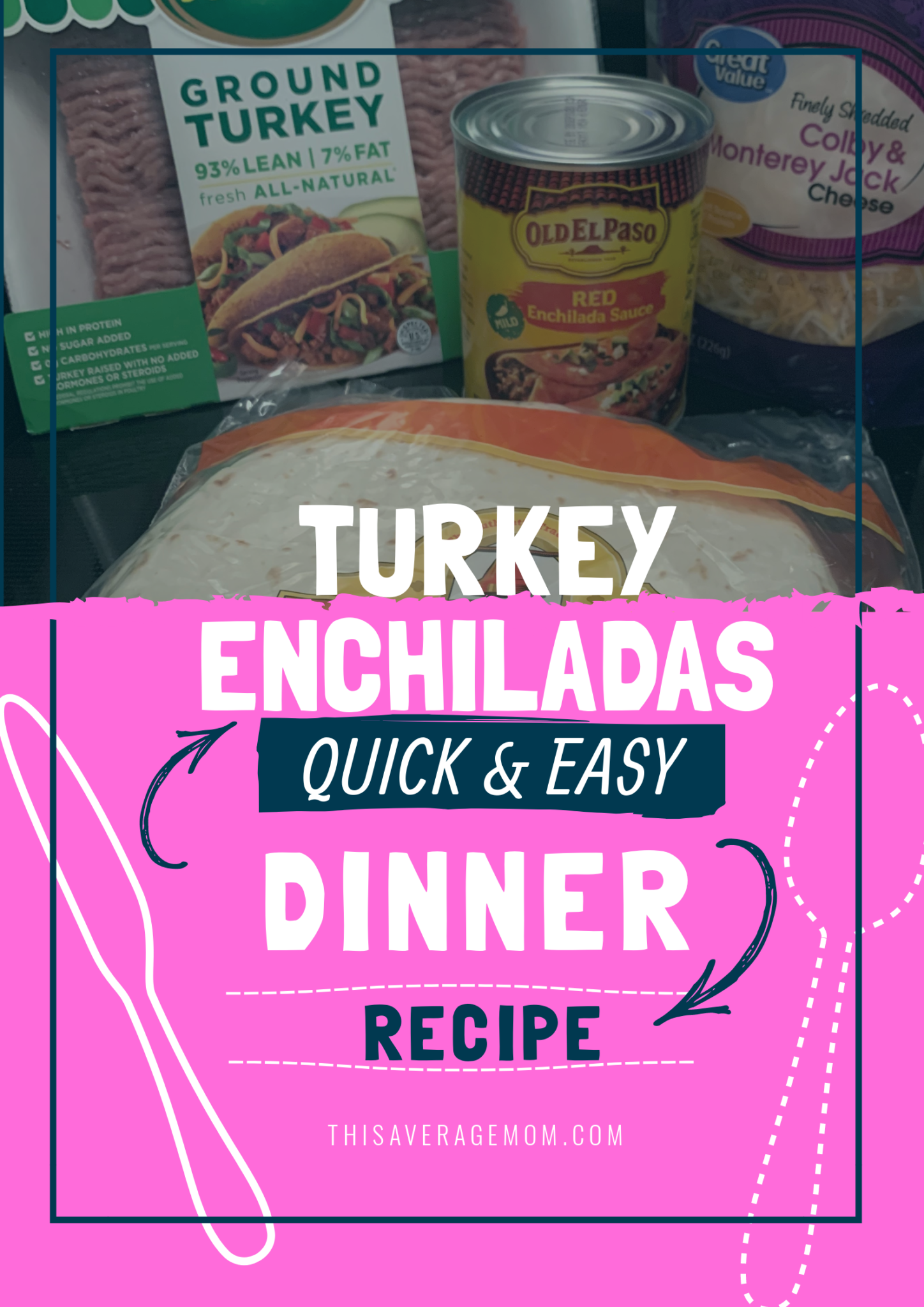 Need an easy dinner idea? Try this turkey enchilada recipe! Perfect for busy weeknights or laid back weekends, these enchiladas are quick, easy and tasty.