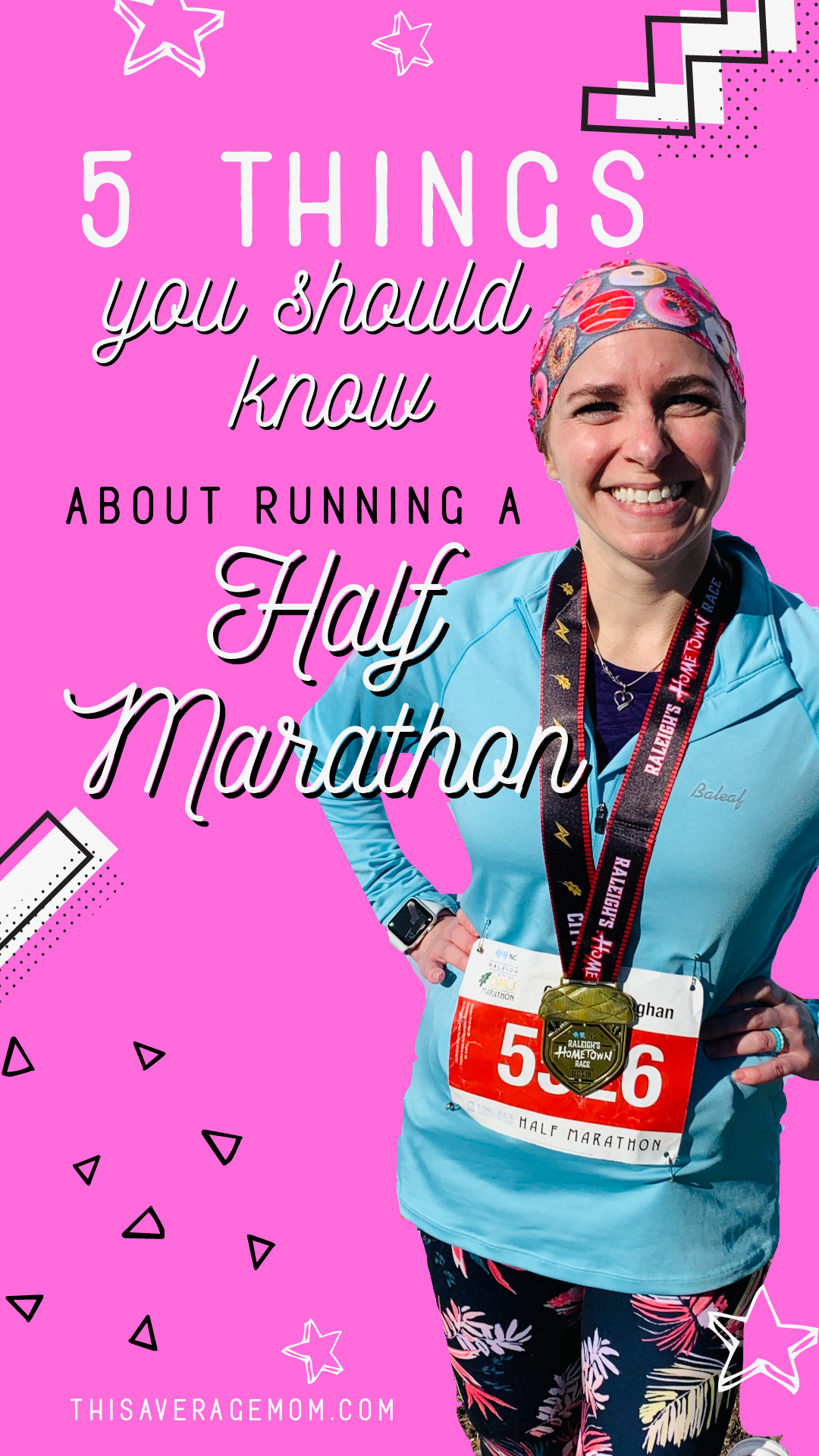 Ever thought about running a half marathon? Those 13.1 miles can seem pretty daunting, but less so if you know what to expect. Here's 5 things you should know about running a half marathon! #fitness
