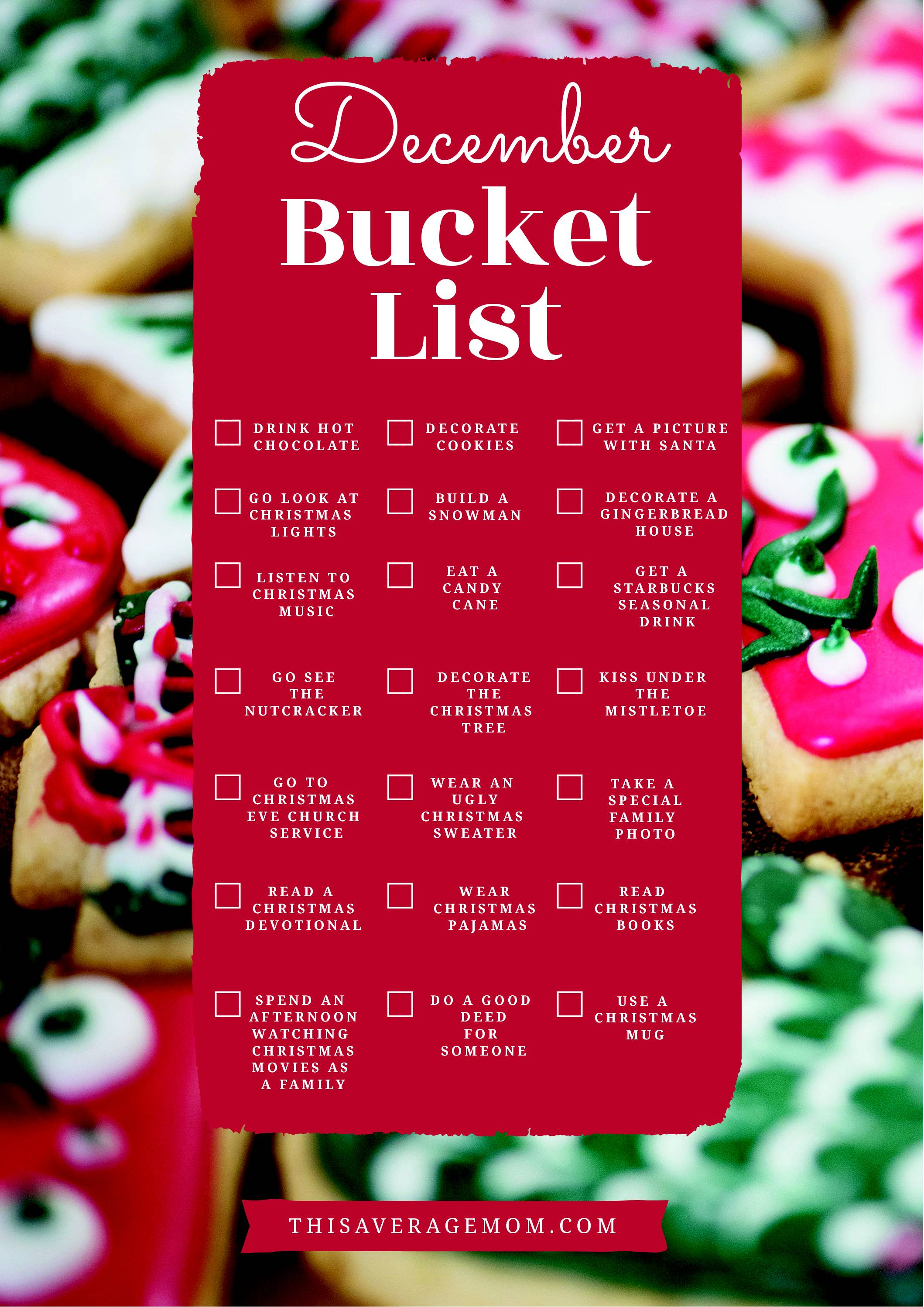 Our family made a December bucket list full of fun holiday ideas--and I'm sharing it with you! We love the Christmas season and wanted to write down all the ways we plan on enjoying the most wonderful time of the year! #holidays #christmas #cheer