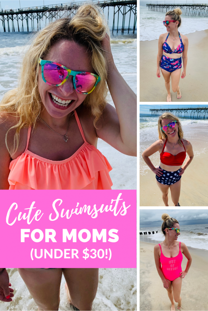 Need some budget-friendly and mom-friendly swim suits? I've got a few cute bathing suits for you! #summer #momlife