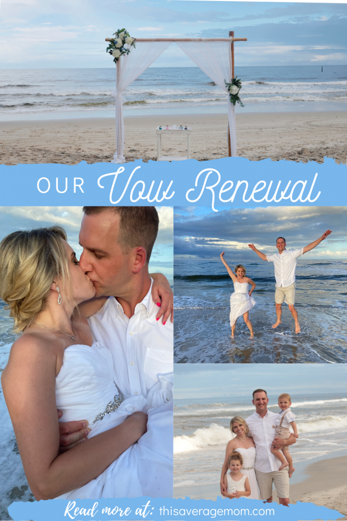We did it! Renewed our vows, that is! I'm sharing all about our beach wedding vow renewal at Carolina Beach. #marriage #wedding #beachwedding #vowrenewal